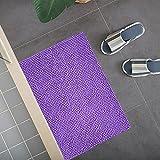 Dalina Textil Alfombra Multiuso de Chenilla Suave con Efecto Antideslizante para Baño, Lavabo, Cocina, Salón. (50x70cm, Morado)