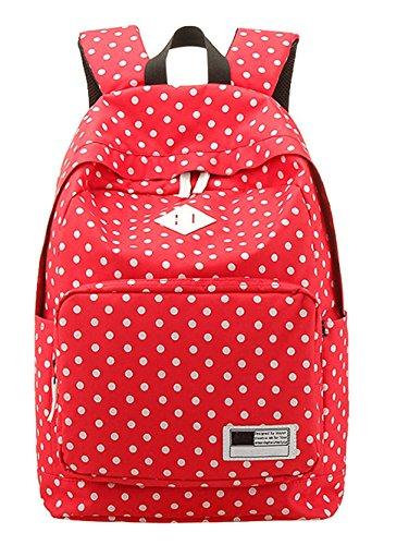 Kingwin Wave Dots Toile Sac à dos Sac d'école de voyage Sacs à bandoulière, Red, 45*33*16cm