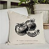 Funda de almohada para sofá cama para mamá y papá Tomate B & W, 100% algodón orgánico, decoración del hogar, regalo de inauguración de la casa, café y té