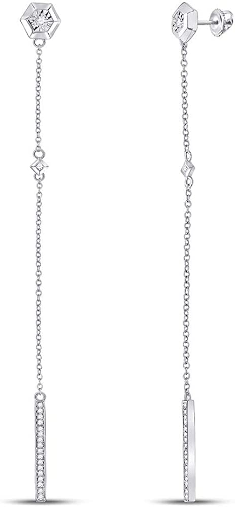 Sterling Silver Womens Max 72% OFF New life Round Diamond Drop 1 Dangle 5 Earrings Ct