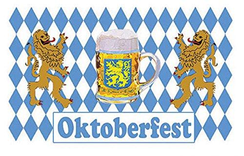 erdbeerparty Motto-Party Hängedeko Flagge Oktoberfest, Bavaria-Fahne, 150 x 90 cm, Mehrfarbig