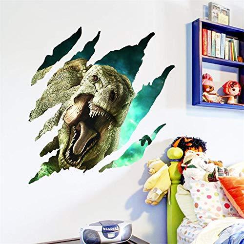 CVG 3D Dinosaurs Through Wall Stickers for Kids Rooms Art Movie Jurassic Park Home Decor DIY Cartoon Wall Decal Mural