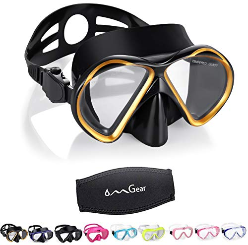 OMGear Diving Mask Snorkeling Gear Kids Adult Snorkel Mask Dive Goggles Silicone Swim Glasses Scuba Free Diving Spearfishing Anti-Leak Anti-Fog Neoprene Strap Cover(Gold)