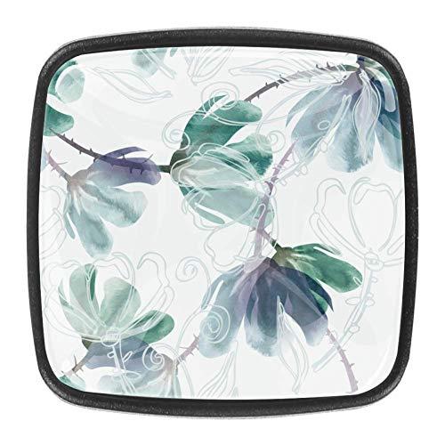 Estilo chino 4 unidades cuadrado cristal GlassDoor manija cajón manija manija manija del cajón, gabinete cajón, gabinete cajón,