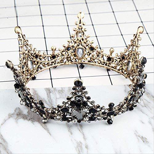 Hoofdband Hoofddeksels Crownvintage Zwart Kristal Kroon Bruidsjurk Accessoire Bruid Hoofddeksels