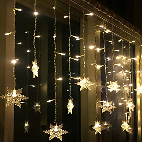 Mroobest Snowflake Light String, Star String Lights, Star Curtain Lights, Curtain String Lights, Christmas String Lights for Indoor Outdoor Wedding/Party, 8 Lighting Modes, Waterproof