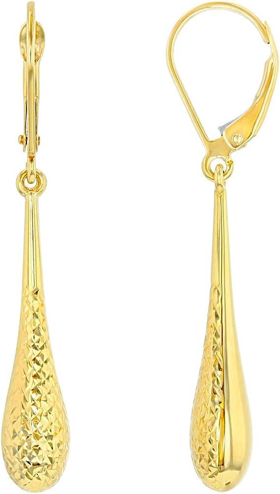 14k Yellow Gold Textured Teardrop Dangle Drop Earrings, 5.5mm
