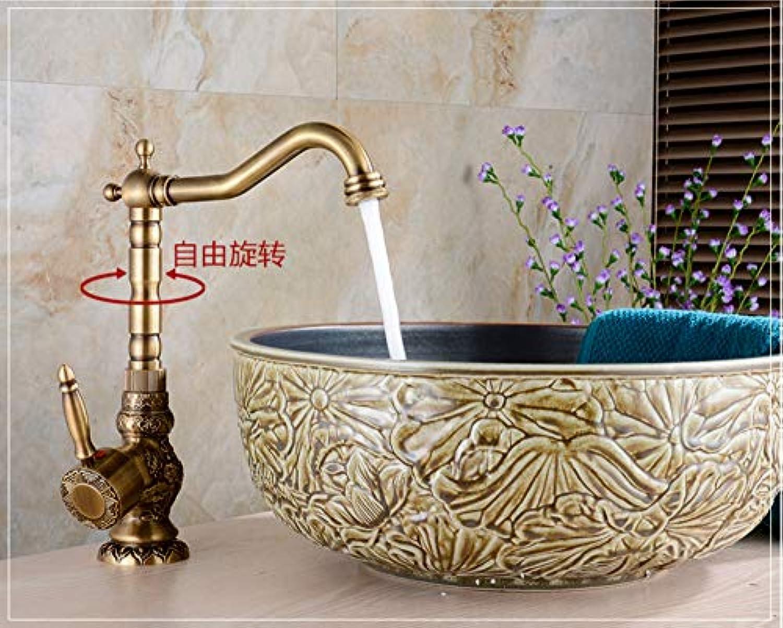 Xiehao Waschtischarmaturen Antike Messing-Badezimmer-Hahn-Bassin-Schnitzen-Hahn Drehen Einzelnen Handgriff-Heier Und Kalter Wasser-Mischer-Krne