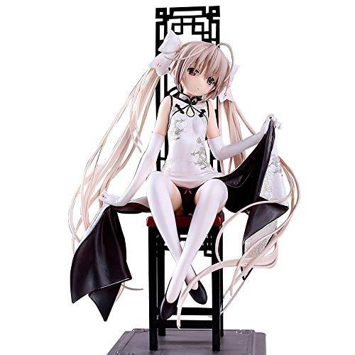 Personaje De Anime Figura Chica del Cheongsam De La Posición Sentada Figura De Acción De Modelo Femenino De Vinilo PVC Decoración Figurita rol Juguetes Decoración De Escritorio White-21CM