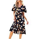 Vestido bohemio con estampado floral, cuello en V, ajustado, largo hasta la rodilla, largo hasta la rodilla, largo, elegante, para bodas, fiestas, playa, etc., marine, XL
