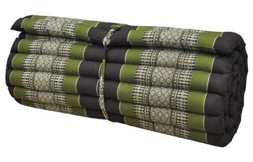 Wifash Matras Thai L (breedte 75 cm), tapijt, overtrek, ontspanning, gym, meditatie, yoga, strand, zwembad, Made in Thailand, bruin/groen (82014)