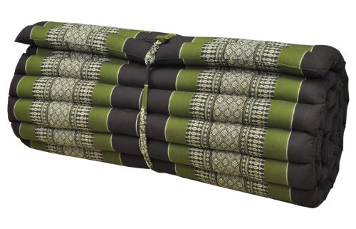 Wilai Kapok Thaikissen, Rollmatte breit (82014 - braun/grün)