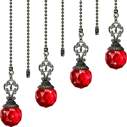 Ceiling Fan Pull Chains Crystal Ball Extension Fan Pull Chain Pendant 12 Inch Vintage Ceiling Fan Chain Extender Ornament with Ball Fan Chain Connector for Ceiling Light Fan (Red, 4)