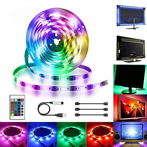 Tira LED TV, Hually 2M(2x0.6m+2x0.4m) 5050 Tiras LED USB con Control Remoto,16 RGB Colores y 4 Modos, Retroiluminacion LED de TV, HDTV/PC Monitor (40-60 Pulgada) [Clase de eficiencia energética A++]