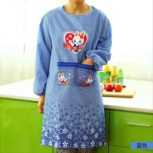 mhde aprons lange mouw liefde konijn anti-vuile anti-aantasting volwassen anti-aankleden keuken anti-aantasting schort jurk B Blauw 1