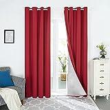 Deconovo Cortinas Térmicas de Salón Suave Moderno Original con Forro de Gris Plata 1 Par 140 x 245 cm Rojo