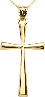 Religious Jewelry by FDJ Solid 14k Yellow Gold Simple Cross Pendant Necklace