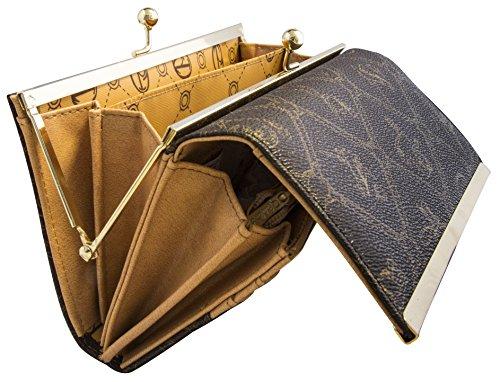Braune Damen Geldbörse von Giulia Pieralli Portemonnaie aus Kunst Leder Portmonee Maße 19 cm x 10 cm x 3 cm Geldtasche Geldbeutel Clipverschluss Kugelverschluss inkl. Geschenkbox