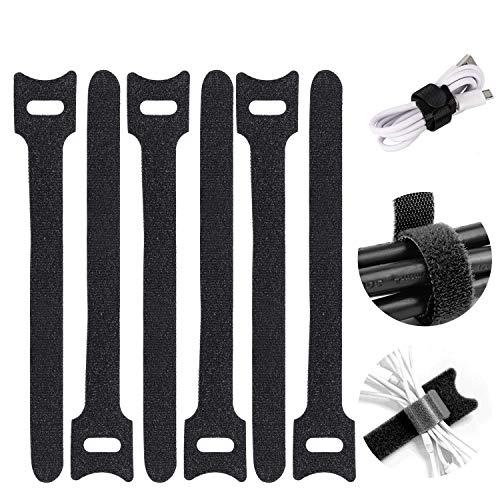 Kabel Klettband, 120 Stück Kabelbinder Schwarz Klettverschluss Selbstklebend Kabelbinder Wiederverschließbar mit Hochwertigem Nylonmaterial (12 x 150 mm)