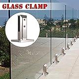 jinclonder Clip de Valla de Vidrio de Acero Inoxidable para Piscina, Poste de Panel de Vidrio Balcón Abrazadera de Piso de Vidrio Accesorios fijos de Vidrio para escaleras del hogar Barandilla