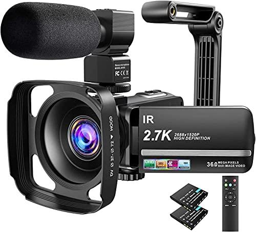 Caméscope, caméra vidéo 2.7K 36MP UHD IR Vision Nocturne Caméscope numérique Zoom numérique 16X Caméscope vidéo à écran Tactile 3 Pouces IPS avec Microphone, parasoleil et Support pour Appareil Photo