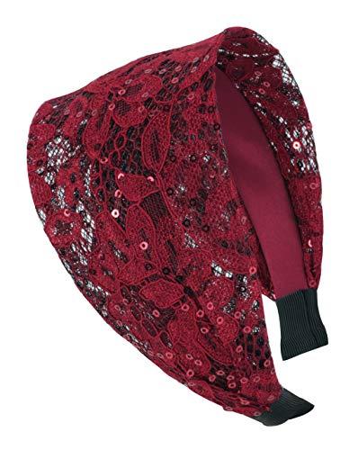 axy HR14A Haarreif Serie 14A mit Paillette Hair Band -Vintage - Wunderschön Stirnband (Rot)