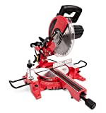 GENERAL INTERNATIONAL 10' Compound Sliding Miter Saw - 15A Dual Slide Rail Chop Saw with 0-45° Bevel & Laser Alignment System - MS3005