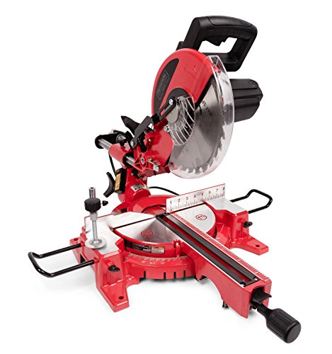 """GENERAL INTERNATIONAL 10"""" Compound Sliding Miter Saw - 15A Dual Slide Rail Chop Saw with 0-45° Bevel & Laser Alignment System - MS3005"""