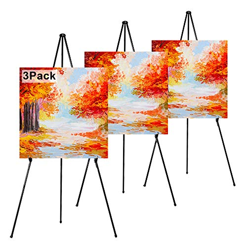 REALlWAY 63' Folding Easel Stand for Display,Adjustable Floor Poster Easel for Arts,Pictures,Paintings,Telescoping Black Metal Easel Fit for Signs at Exhibition,Lobby,Holds 5lbs,3Pack