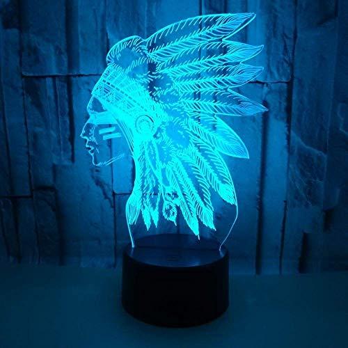Hyy-yy Regalos del jefe indio de la lámpara LED gradiente d