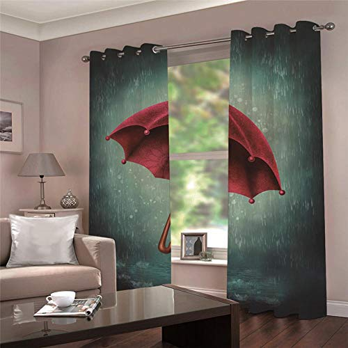 Blackout Curtains 3D Red Umbrella In The Rain Waterproof Mildew Resistant Polyester Fabric Curtains Thermal Insulated Window Curtains For Living Room Office Bedroom (2 Panel) 2 x 55.11' x 98.42'