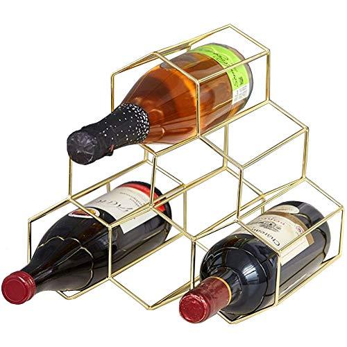 Estante para Vino con Diseño De Panal Geométrico En Oro Rosa, Estilo Europeo Decoración Vino Estante, con 6 Orificios para Almacenamiento Estante, Creativo Hogar Vino Simple, Fácil De Limpiar