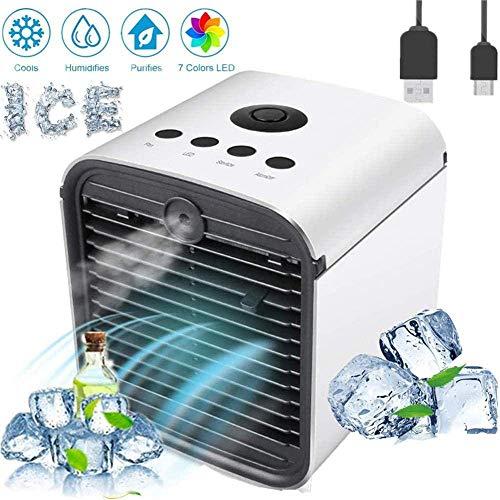Mobile Klimageräte Mini Luftkühler Air Mini Cooler 4 in 1 Luftbefeuchter und Luftreiniger Tischklimaanlage Ventilator mit 3 Geschwindigkeiten & 7 Farben LED Nachtlicht (B-Weiß+Adapter)