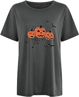 Women Halloween T-Shirt Cute Pumpkin & Bat Print Pullover Casual Round Neck Short Sleeve Loose Tee Shirt Top