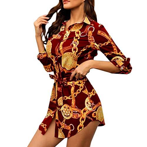 SANNYSIS Damen Langarm Hemdkleid V-Ausschnitt Elegant Kurz Blusenkleid Sexy Shirt Kleid Oberteil Kleid Bodycon Minikleid mit Gürtel Boho Drucken Sommerkleid Kleider (XXL, Wein)