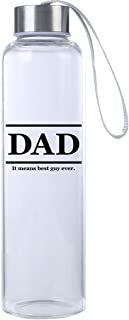 Mad 2 Order Gift for him, from Daughter, Gift Ideas for Men, 20 oz. Durable Glass Water Bottle, for Best Dad