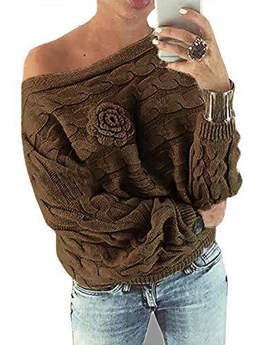 YOINS Schoudervrij bovenstuk dames herfst winter off shoulder pullover pullover voor dames losse pasvorm met bloemenpatroon