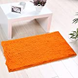 Heyome Indoor Doormat Non-Slip & Water-Absorbent Chenille Microfiber Floor Bath Mat Carpet Entrance Rug for Bedroom,Sitting Room and Bathroom Fluorescent Orange 15.7 x 23.6 Inch