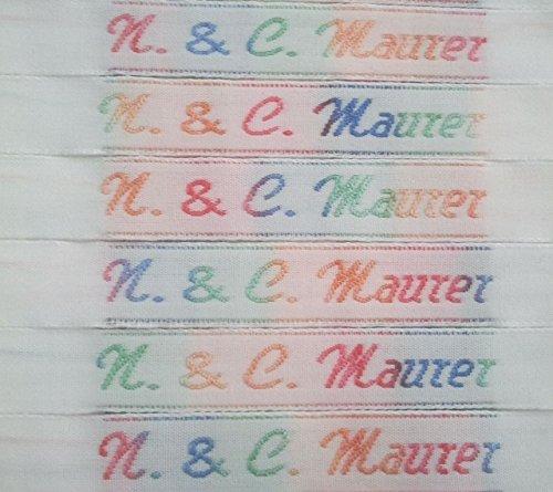 Bänderservice 50 NAMENSETIKETTEN Wäscheetiketten 10mm Etiketten Textil hochwertige Kleidungsetiketten in Allen Farben des Regenbogens gewebt mit Ihrem Namen zum EINNÄHEN