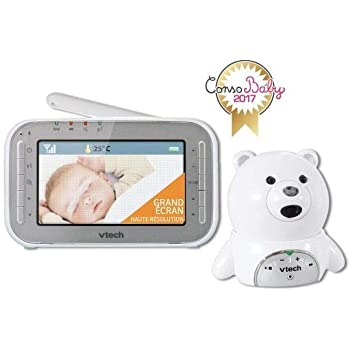 VTech – Babyphone Vidéo XL Ourson BM4200– Babyphone Vidéo Grand Écran – Camera HD