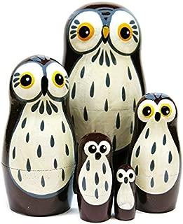 Barn Owls 5-Piece Russian Nesting Doll Wooden Babushka Stacking Dolls Handmade Wildlife Animal Brown Bird Matryoshka Toy - New and Improved 2018 Design
