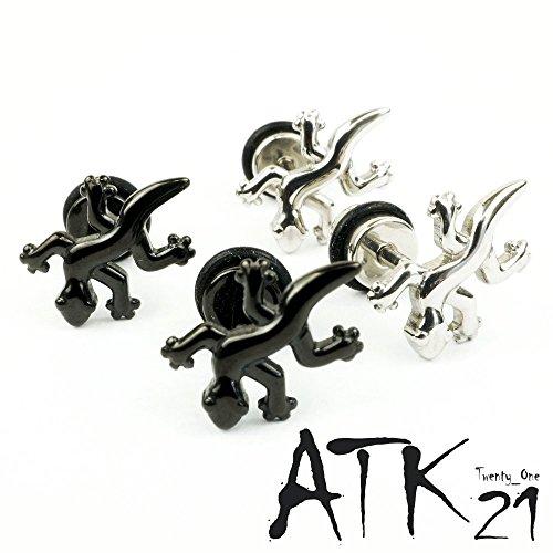 『[ATK21] 両耳用(2個セット) トカゲ モチーフ ボディピアス 軟骨ピアス メンズ レディース ユニセックス ステンレス Surgical Steel316L アクセサリー (シルバー)』の5枚目の画像