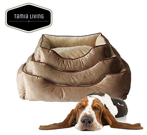Tamia-Living Hundebett Hundekorb Hundekissen Plüsch mit Verschluss abnehmbar Bezug 70X60X20 cm (SPB-066)