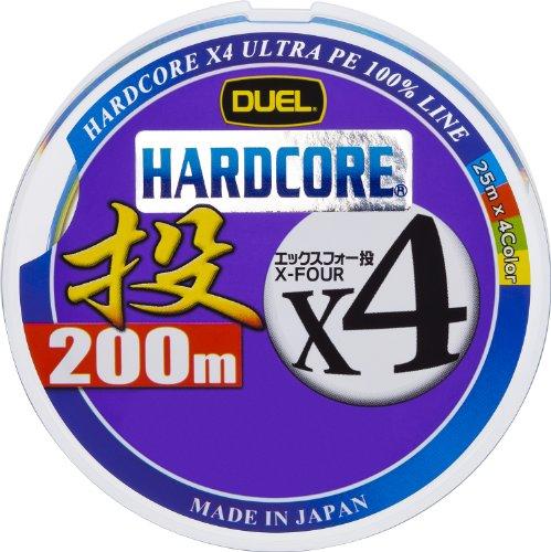 DUEL(デュエル) HARDCORE(ハードコア) PEライン 1号 HARDCORE X4 投げ 200m 25m×4色 12.5m毎・黒マーキング 投げ H3289