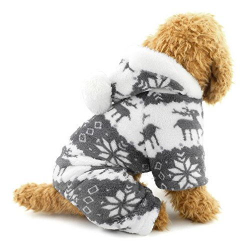 Ranphy Small Dog Cat Clothes for Boy Girl Soft Velvet Reindeer Pattern Dog Pajamas Puppy Hoodie Hooded Jumpsuit Grey S (This Style Run Small,pls Choose The Size Carefully)