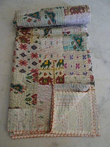 Tribal Asian Textiles BIndian Patola Kantha-Steppdecke aus Seide, Patchwork-Design, Kantha-Decke, Tagesdecke, Doppelsteppdecke