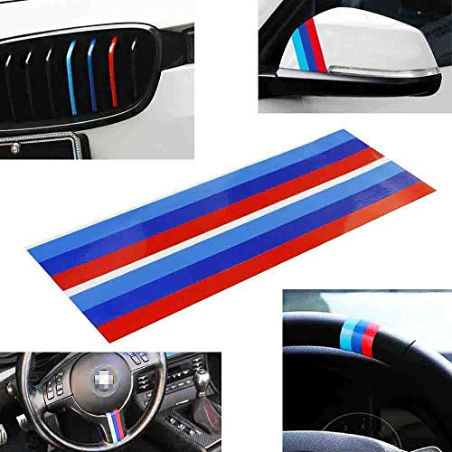 iJDMTOY (2 M-Colored Stripe Decal Sticker Compatible with BMW Exterior or Interior Decoration Such As Grille Fender Hood Side Skirt Bumper Side Mirror Dashboard Steering Wheel, etc