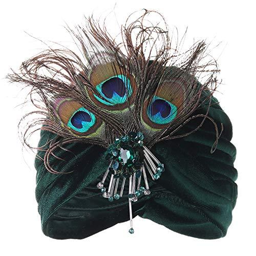 ArtiDeco Damen Turban Hut mit abnehmbarer Kristall Brosche 1920s Retro Feder Turban Hut Gatsby Accessoires (Dunkelgrün)