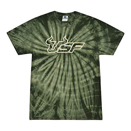 NCAA College Logo Gameday Short Sleeve Tie-Dye T-Shirt (USF Bulls - Green, X-Large)