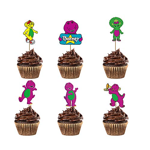 24 Pieces Barney Cupcake Toppers for Kids Birthday Party Cake Decoration Supplies